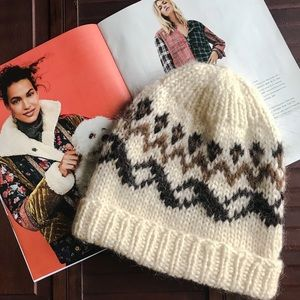 Accessories - CREAM & BROWN FAIR ISLE KNITTED COZY BEANIE